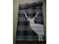 Brown Stag Deer Tartan Check Rug Soft Short Pile - 60 X 110CM - New 2 Available