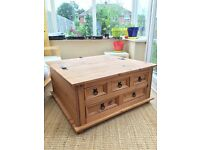 Pine coffee table/chest & matching mirror