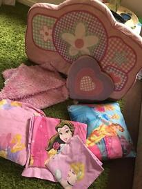 Girls bedroom set. Curtains duvet cover Disney princess