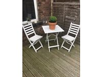 3- Piece (table and two chairs) Outdoor Wooden (white) Bistro Set - ORIGINALLY £200 - NOW £25