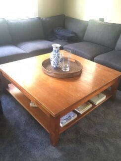 Large solid timber square coffee table