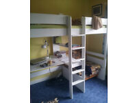 Pine bunk beds kids with mattress, unfolds chair and desk.
