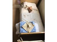 Mamas and papas cot bed and bedding