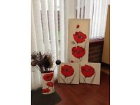 Canvas prints and matching vase