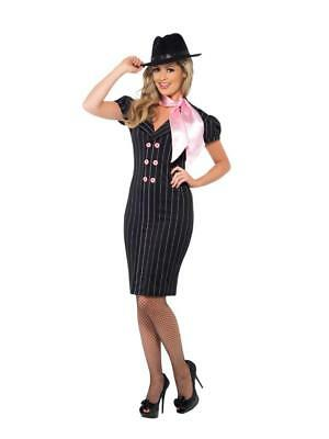 1920s Female Gangster Costume (WOMEN'S 1920'S GANGSTER'S MOLL FANCY DRESS COSTUME, PINSTRIPE DRESS AND)
