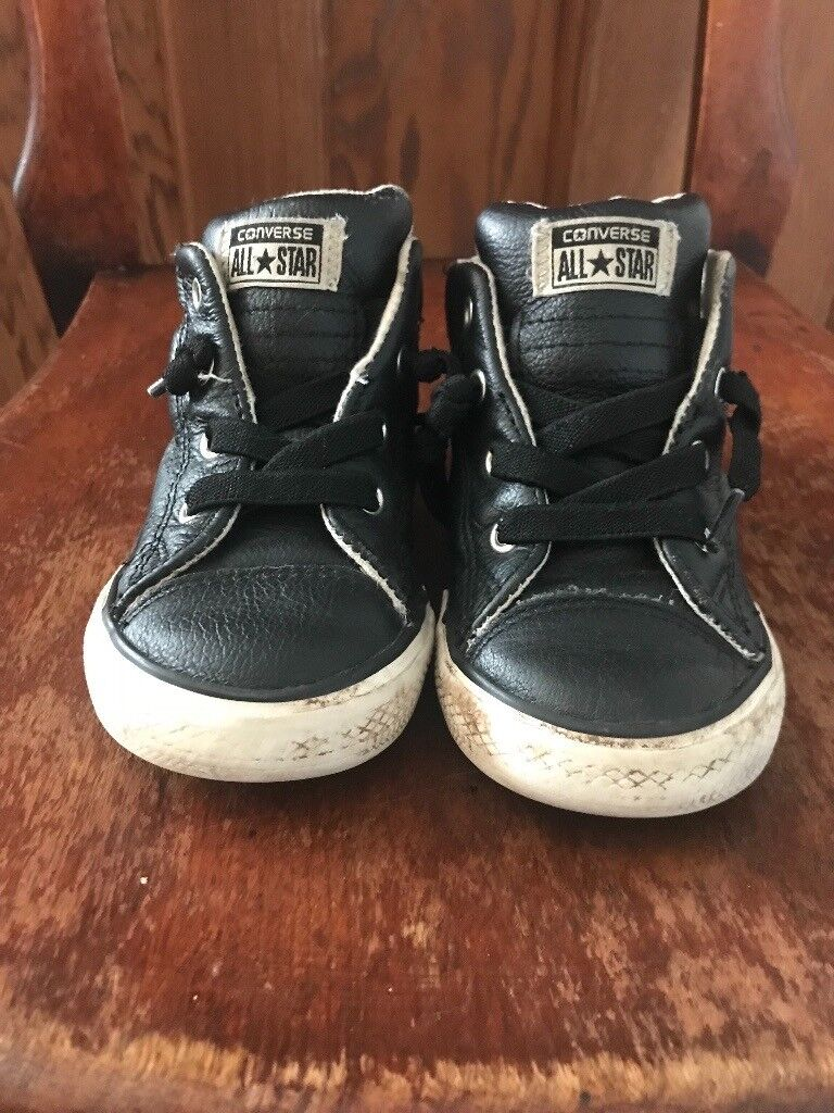 Boys black leather converse ALL STAR boots