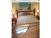 Reduced! Beautiful solid carved wooden bed