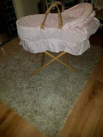 Pink Moses basket and stand with pink embroidery covers £10