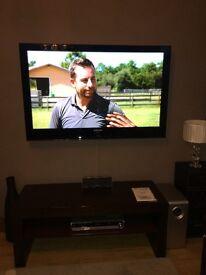 "Samsung 50"" plasma TV, wall mounting bracket, 5 speaker surround sound, sub woofer, recordable DVD"
