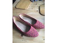 Red Flats with Studs Size 5 New