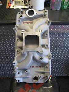 edelbrock bb/gm intake #5061 round/port like new  used
