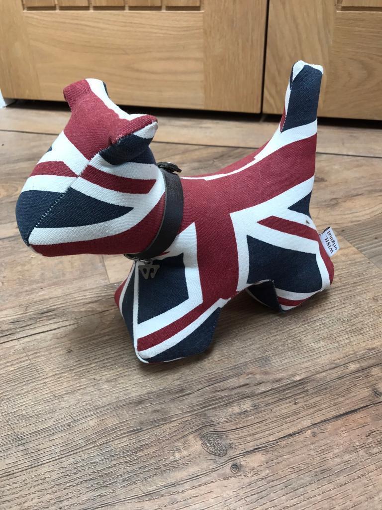 Lovely Union Jack Dog Design Door Stop In Ruddington
