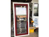 Brand New PVCu exterior door White frame with red door leaf 2030mm x 930mm
