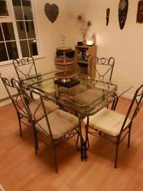 6 seater beautiful glass dinning room table and chairs