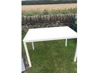 Glass/white dining table and 4 chairs