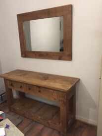 Wooden side table and mirror