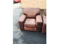 Lovely suede brown corner sofa and arm chair