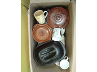 Selection of Kichen Ware. Cassereoles, Bread Bin, Mugs, Cake Stand and Other Items.