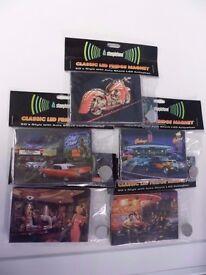 x5 Steepletone Novelty 1950s Car Elvis Marilyn Monroe Fridge Magnet LED Lights