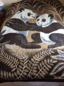 Biederlack Fleece Blanket with Panda design - large single