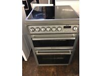 Hotpoint EW74 60cm Double Electric Cooker in Silver #3448