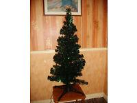 Fibre Optic Christmas Tree Dark Green Tinsel 4ft