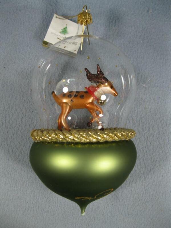 LRG CHRISTMAS ORNAMENT SOFFIERIA DE CARLINI HAND BLOWN GLASS DEER ITALY