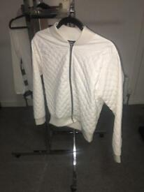 Misguided quilted cream ivory off white bomber style jacket size 12