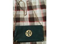 Tory Burch green foldover clutch with detachable gold chain