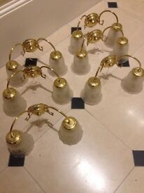 6 pairs of brass wall lights