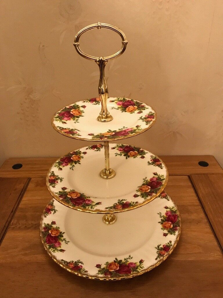 Old Country Rose, 3 Tier Cake Stand, Royal Albert Bone China
