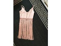 Size 8 Asos pink fringed festival top