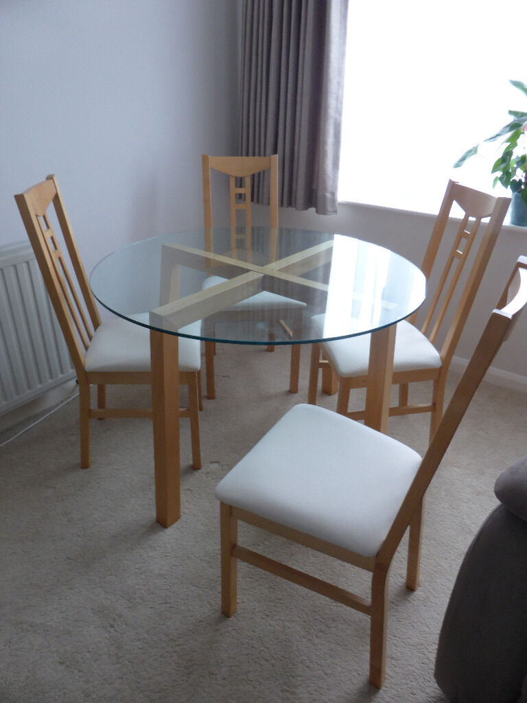 Glass & Birch Dining Table and matching 4 Birch and Cream ...