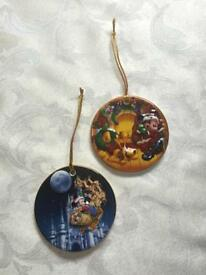 2 DISNEY 3D China Christmas Hanging Ornaments