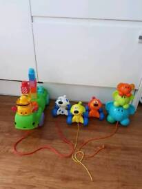 Pull along building blocks caterpillar musical, magnetic, stacking toys