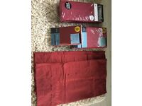 Two double bed valance sheets- deep claret red and matching pillowcases.