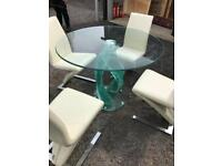 Deco style glass table and chairs