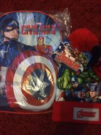 Bnwt marvel avengers children's back pack rucksack and hat and globe set