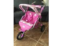 Baby Born double twin dolls' pushchair buggy 3 wheeler
