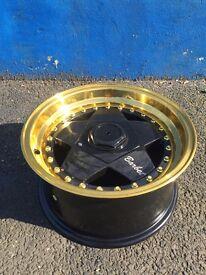 "15""BLACK & GOLD RETRO5 WHEELS 7.5J/8.5 PEUGEOT CITROEN FORD VW AUDI RENAULT BMW"