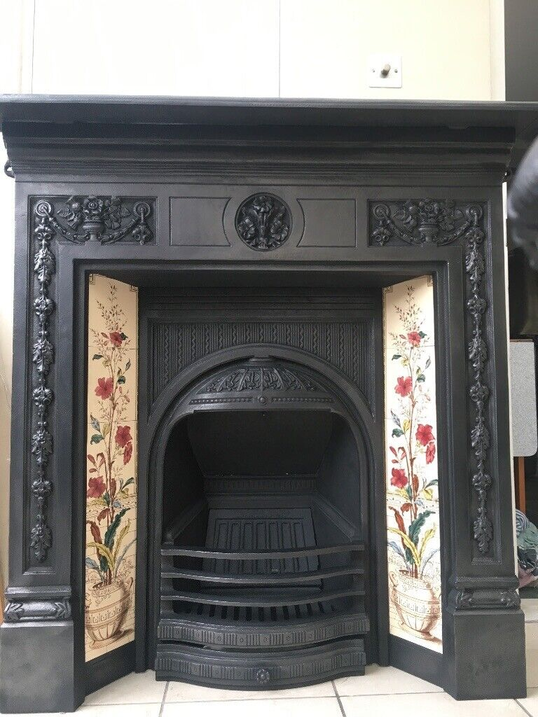 Cast Iron Fireplace With Lovely Floral Tiles In Putney London Gumtree