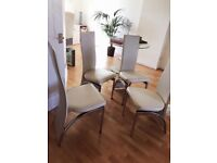 Leather Ivory Dining Chairs x 4