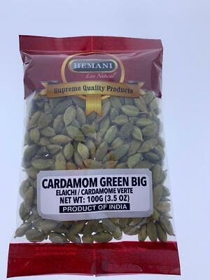 Hemani Green Cardamom Whole Pods (Pouc) JUMBO GRADE A BEST QUALITY 100gm -