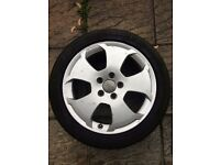 Audi A3 A4 17 inch 5 spoke 5 spud alloy wheel with tyre 225/45 8p0601025c
