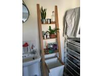 Bamboo Ladder shelf with integrated laundry bag