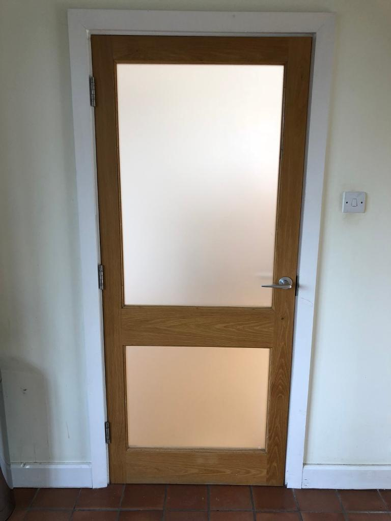 Single Oak Door With Frosted Glass Panels In Chigwell Essex Gumtree