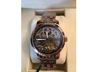 Zeitner Men Iconic Automatic Rose Gold Wrist Watch with black Skeleton Design RRP £599.00