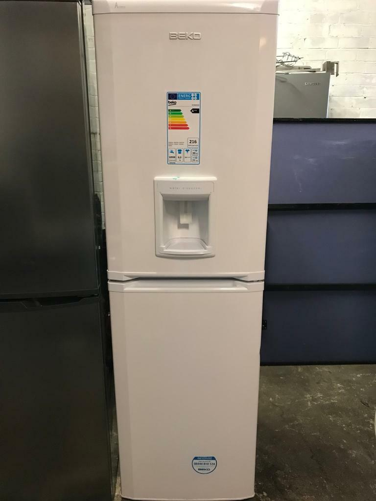 Beko white tall fridge freezer frost free with water dispenser