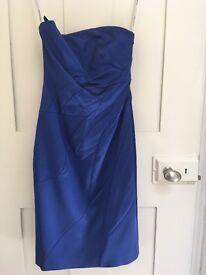 Karen Millen Size 10 Jewel Blue Silk Cocktail Dress