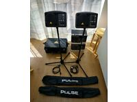 X2 Behringer B205D Active 150W PA/Monitors + Stands + Case